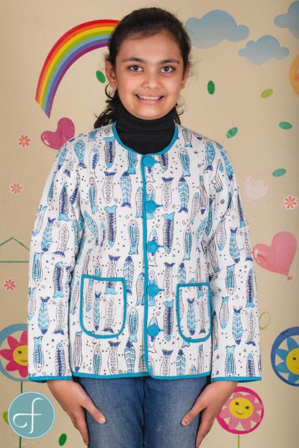 Blue Fish Reversible Quilted Kids Jacket