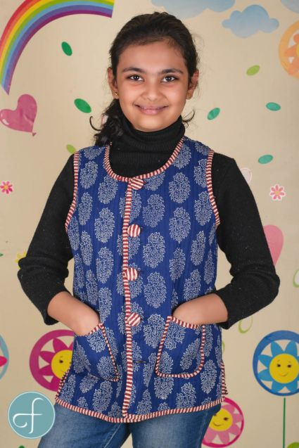 Blue Reversible Quilted Sleeveless Kids Jacket