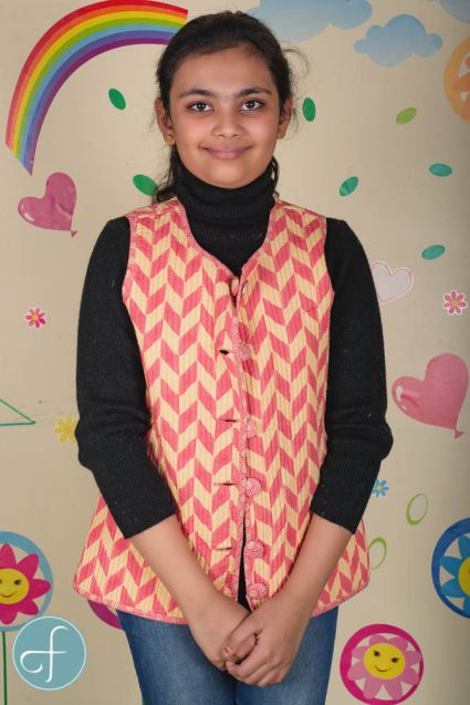 Rosy Pink Reversible Quilted Sleeveless Kids Jacket