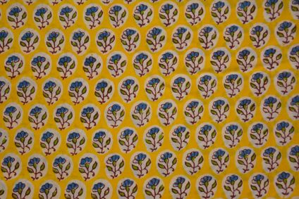 Yellow Blue Block Printed Cotton Fabric