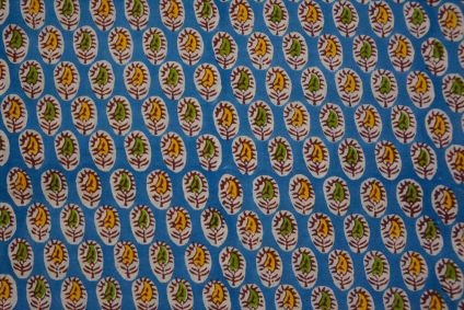 Blue Floral Block Printed Cotton Fabric