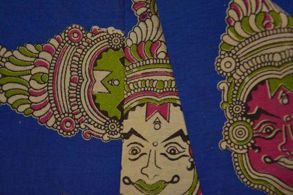Face Hand Block Printed Kalamkari Fabric