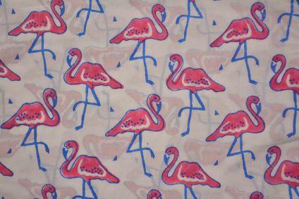 Pink Flamingo Hand Block Printed Cotton Fabric