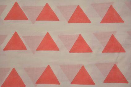 White Peach Triangle Block Printed Cotton Fabric