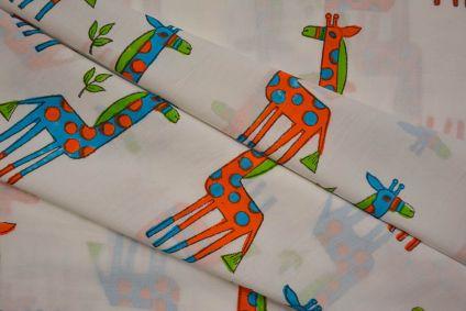 Blue Orange Giraffe Block Printed Cotton Fabric