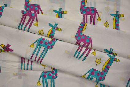 Blue Purple Giraffe Block Printed Cotton Fabric