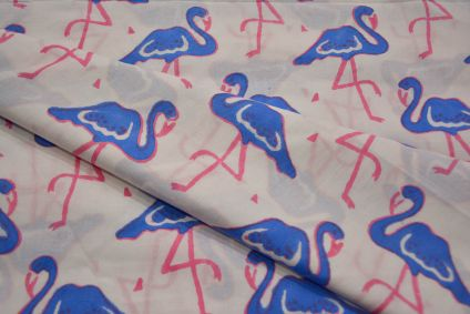 Blue Flamingo Hand Block Printed Cotton Fabric