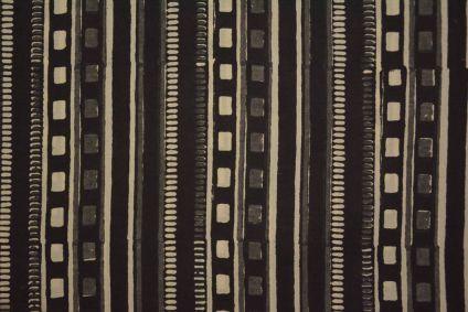 Bagru Black Grey Block Printed Cotton Fabric