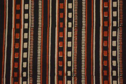 Bagru Red Black Block Printed Cotton Fabric