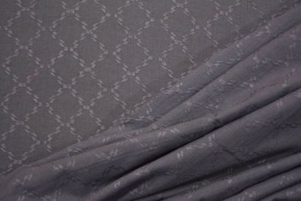 Smoked Grey Self Design Cotton Dobby Fabric