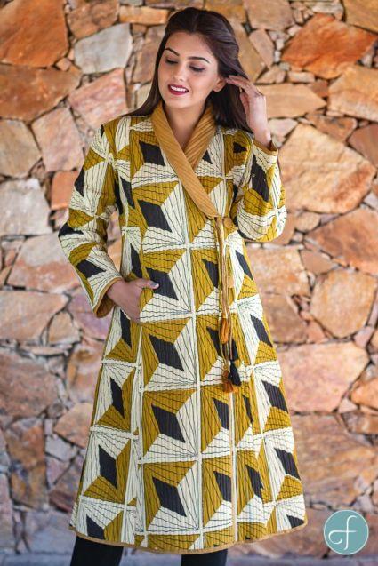 Bagru Mustard Block Printed Quilted Bukhara Coat