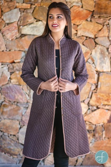 Brown and Peach Reversible Cotton Bundi Quilted Coat- NVQJ262
