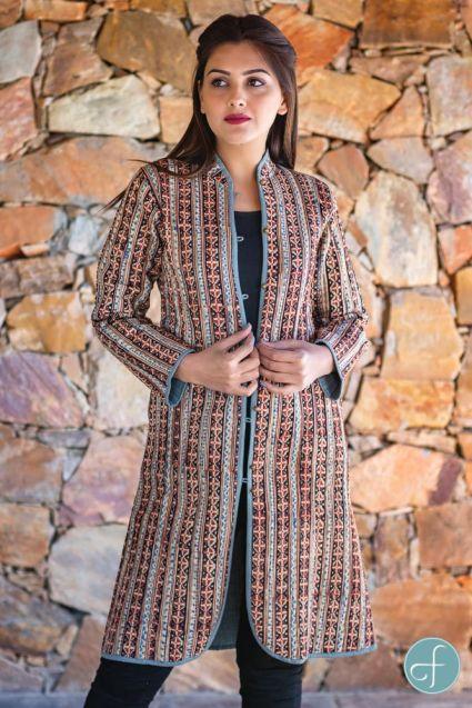 Kalamkari Block Printed Reversible Cotton Quilted Coat- NVQJ253