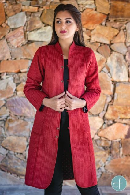 Black Red Block Printed Reversible Cotton Quilted Coat
