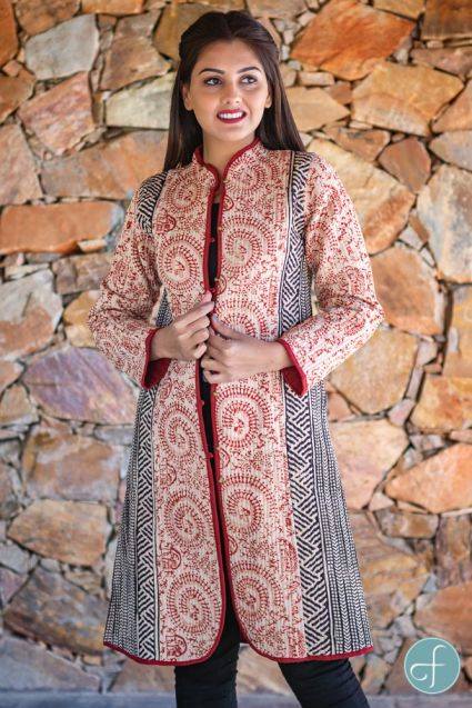 Red Warli Bagru Block Printed Reversible Cotton Quilted Coat
