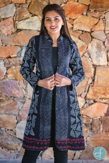 Black White Block Printed Reversible Cotton Quilted Coat