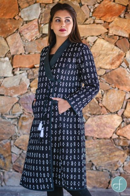 Black And White Block Printed Quilted Bukhara Coat