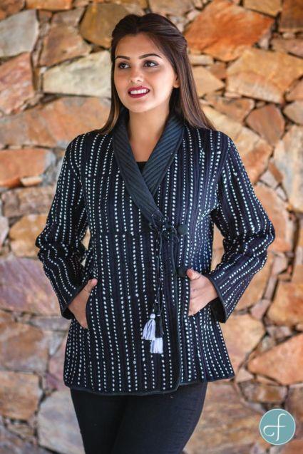 Black White Block Printed Quilted Bukhara Jacket