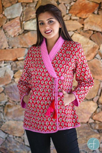 Red Floral Block Printed Quilted Bukhara Jacket-NVQJ268