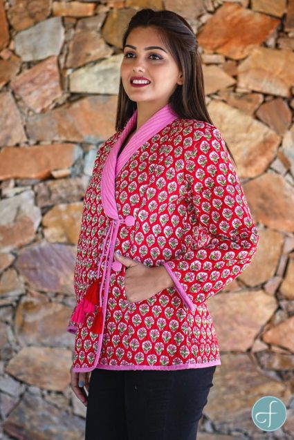 Red Floral Block Printed Quilted Bukhara Jacket