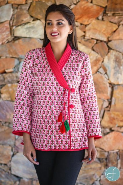 Pink Floral Block Printed Quilted Bukhara Jacket-NVQJ267