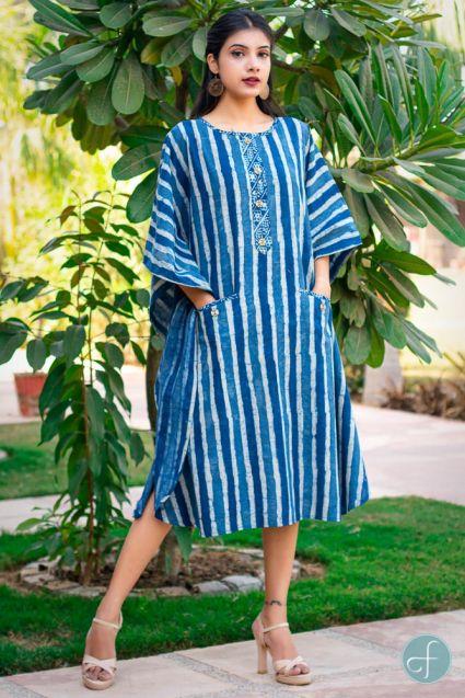 INDIGO STRIPED BLOCK PRINTED COTTON KAFTAN DRESS-NVK169