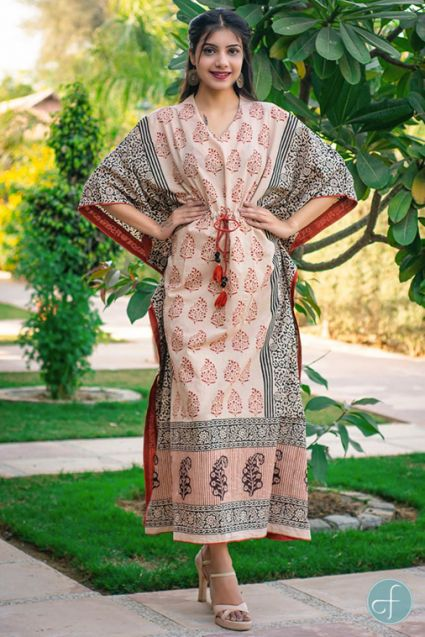 BAGRU RED COTTON KAFTAN DRESS-NVK150