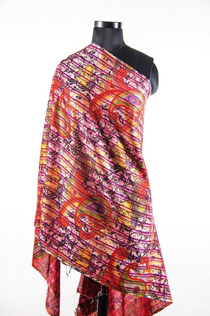 MULTI COLOUR RED WOOL SCARF FOR WOMEN