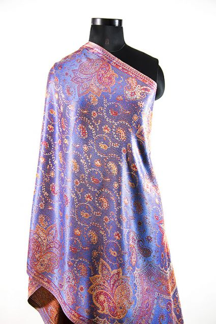 PICTURESQUE BLUE SILK SCARVES FOR WOMEN