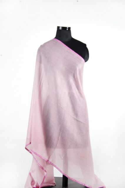 BABY PINK HAND EMBROIDERED PASHMINA SCARF-HE3
