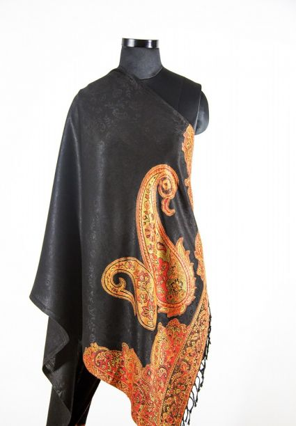 MIDNIGHT BLACK PAISLEY FASHION SCARVES FOR WOMEN