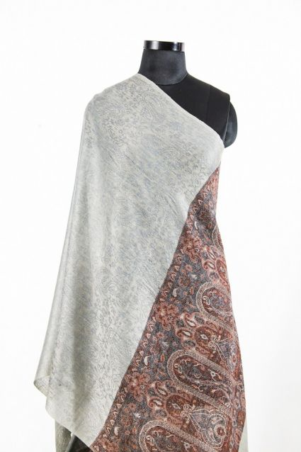 JACQUARD FRONTIER GREY CASHMERE SCARF