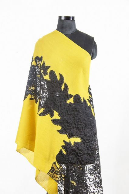 YELLOW BLACK CASHMERE SCARF WOMEN MADE IN INDIA