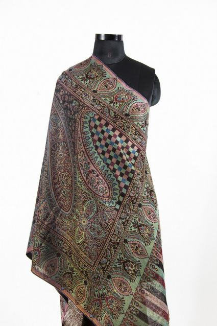 REVERSIBLE BROWN GREEN PASHMINA SCARF FROM INDIA