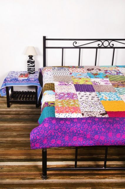 MULTICOLOR PATCHWORK INDIAN COTTON BEDSPREADS-BC22