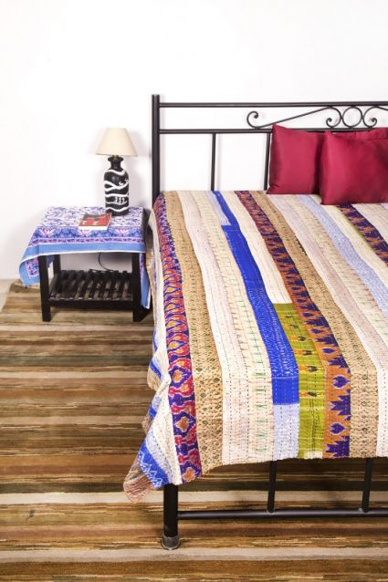 MULTICOLORED PATCH KANTHA THROWS-BC18