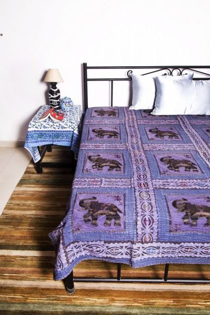 ELEPHANT PATCH INDIAN COTTON BEDSPREADS-BC17