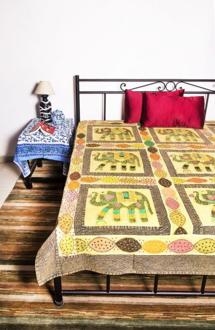 EMBROIDERED COTTON CAL KING BEDSPREADS-BC01
