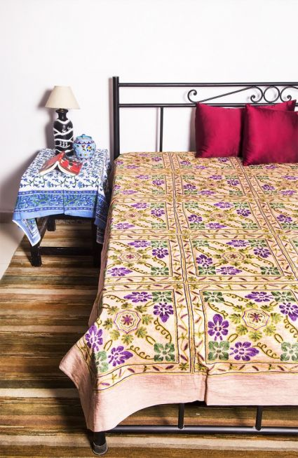 INDIAN COTTON EMBROIDERED BEDSPREADS-BC12