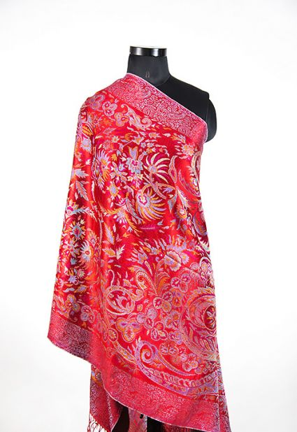 SPARKLING RED SILK SCARF FOR WOMEN