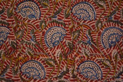 Blue Floral Hand Block Printed Kalamkari Fabric