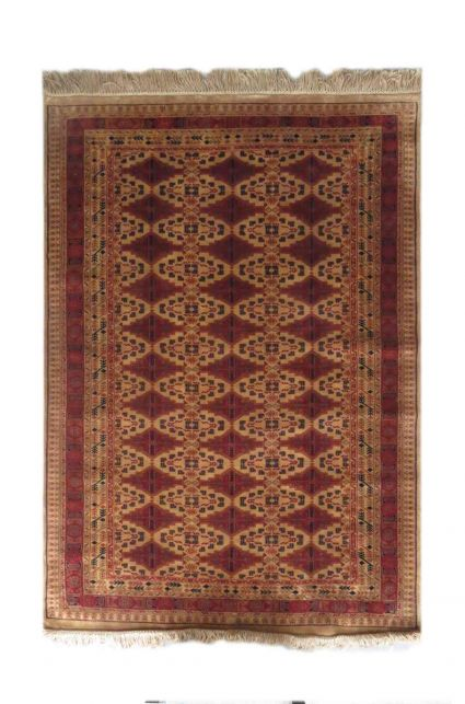 CAMEL & MAROON HANDKNOTTED TRIBAL RUGS FROM INDIA