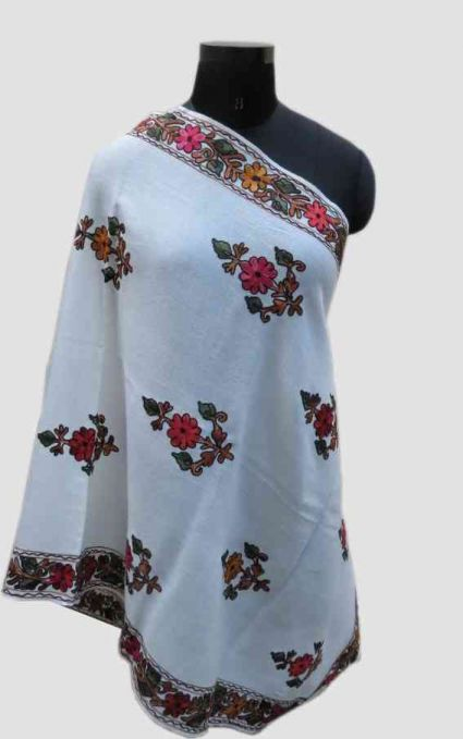 CASHMERE FLOWER WHITE EMBROIDERED SCARF-PS183
