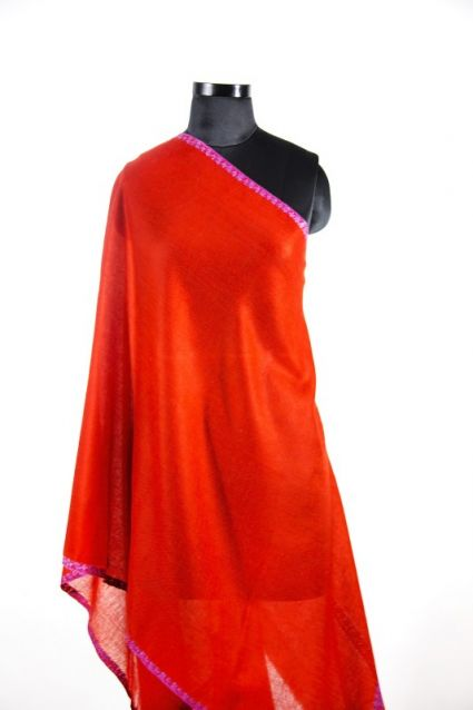 RED HAND EMBROIDERED PASHMINA SCARF-HE1