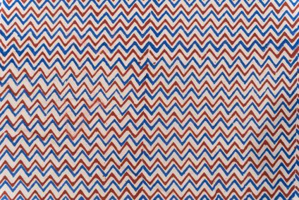 Red And Blue Chevron Block Printed Cotton Fabric