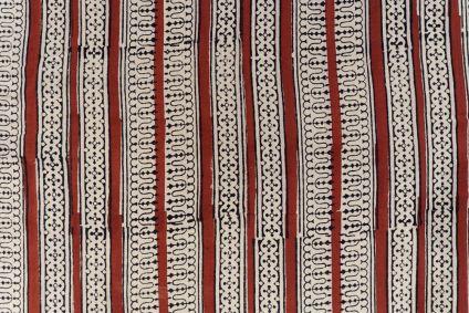 Bagru Red Striped Block Printed Cotton Fabric