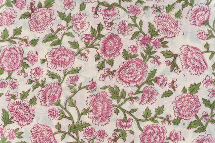 Cream Pink Floral Block Printed Cotton Fabric