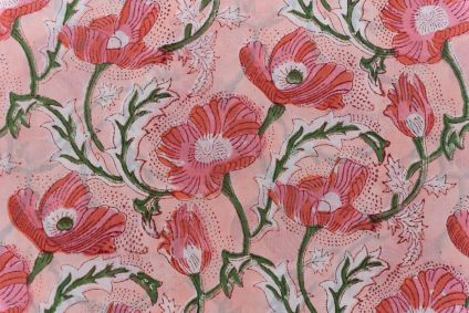 Peach Pink Floral Block Printed Cotton Fabric