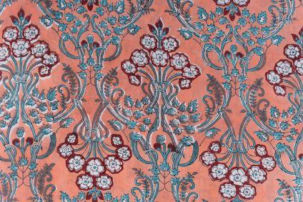Dark Peach Floral Block Printed Cotton Fabric