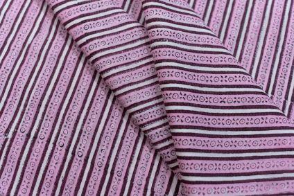 Pink Striped Block Printed Cotton Fabric